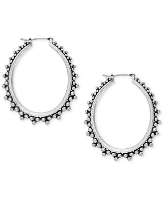 Lucky brand silver tone decorative hoop earrings jewelry for Macy s lucky brand jewelry