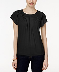Petite Pleated-Neck Top, Created for Macy's