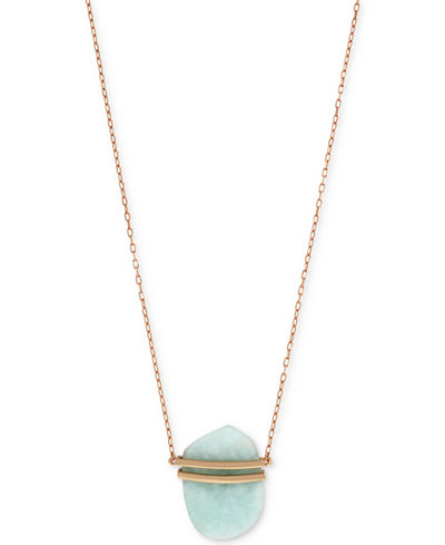 Vince Camuto Rose Gold-Tone Stone Long Length Pendant Necklace
