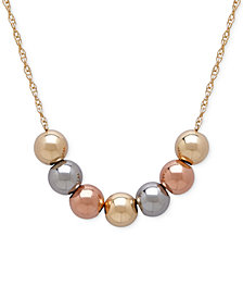 Tri-Tone Beaded Statement Necklace in 10k Yellow, White and Rose Gold