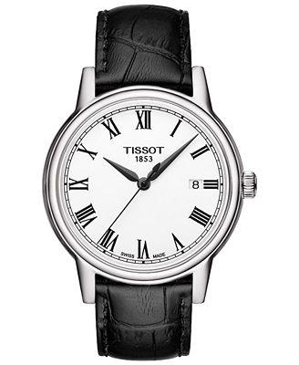 Tissot Men's Swiss Carson Black Leather Strap Watch 40mm T0854101601300