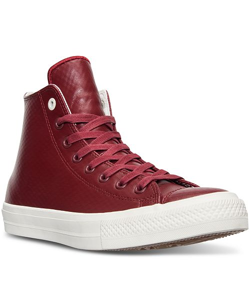 9e01f8689817bc ... Converse Men s Chuck Taylor All Star II High Top Mesh Backed Leather  Casual Sneakers from Finish ...