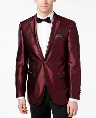 Tallia Men's Slim-Fit Burgundy Pindot Evening Jacket