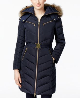 MICHAEL Michael Kors Faux-Fur-Trim Hooded Chevron Belted Down Coat