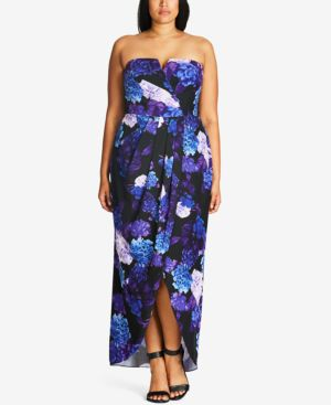 PLUS SIZE FLORAL-PRINT CONVERTIBLE MAXI DRESS