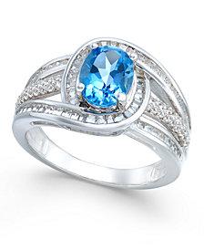 Blue Topaz (1-1/2 ct. t.w.) and Diamond (1/2 ct. t.w.) Ring in 14k White Gold