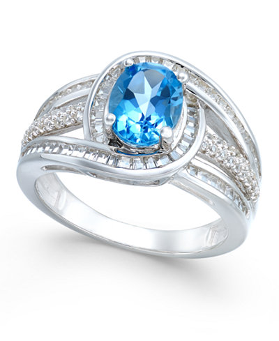 Blue Topaz (1-1/2 ct. t.w.) and Diamond (1/2 ct. t.w.) Ring in 14k White Gold