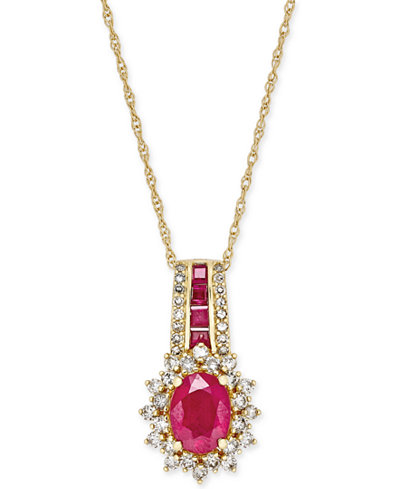 Ruby (1-3/4 ct. t.w.) and Diamond (1/2 ct. t.w.) Pendant Necklace in 14k Gold