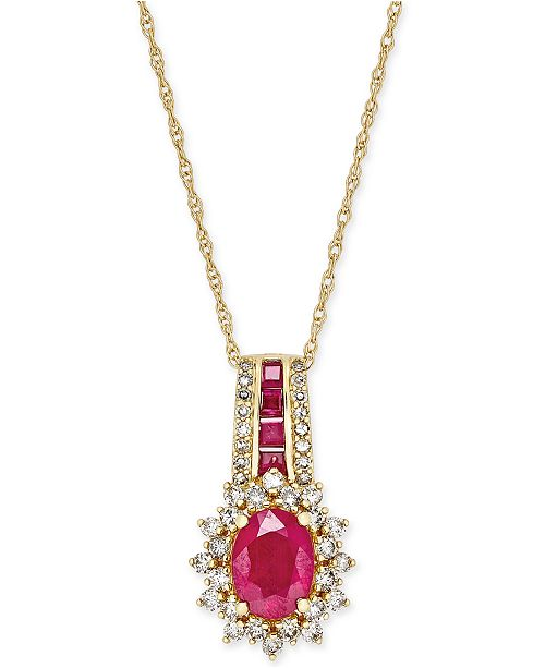 Macy's Ruby (1-3/4 ct. t.w.) and Diamond (1/2 ct. t.w.) Pendant Necklace in 14k Gold