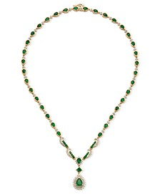 Sapphire (13-1/2 ct. t.w.) and Diamond (1-1/5 ct. t.w.) Collar Necklace in 14k White Gold (Also Available in Emerald and Certified Ruby)