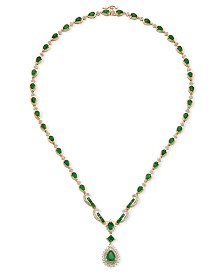 Emerald (9-1/2 ct. t.w.) and Diamond (1-1/5 ct. t.w.) All-Around Fancy Pendant Necklace in 14k Gold