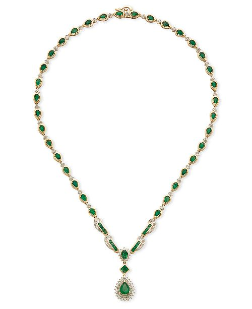 Macy's Emerald (9-1/2 ct. t.w.) and Diamond (1-1/5 ct. t.w.) All-Around Fancy Pendant Necklace in 14k Gold