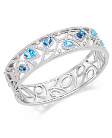 Multi-Topaz (7 ct. t.w.) Filigree Bangle Bracelet in Sterling Silver