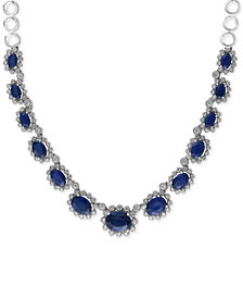 Royale Bleu by EFFY Sapphire (7-1/2 ct. t.w.) and Diamond (1 ct. t.w.) Collar Necklace in 14k White Gold