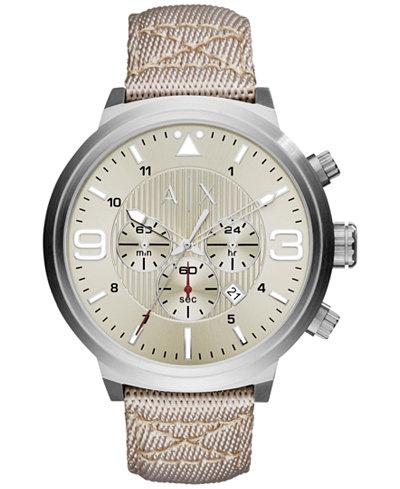A|X Armani Exchange Men's Chronograph Taupe Nylon Strap Watch 49mm AX1374