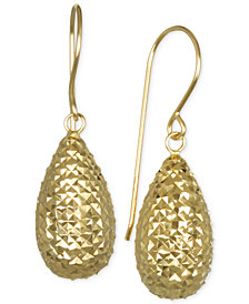 Textured Teardrop Puff Drop Earrings in 10k Gold