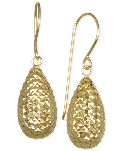 Textured Teardrop Puff Drop Earrings in 10k Gold
