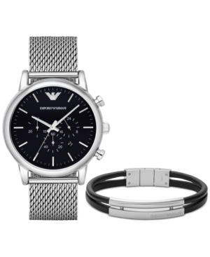 Emporio Armani Men's Chronograph Luigi Stainless Steel Mesh Bracelet Watch and Bracelet Set 46mm AR8032