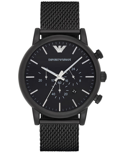 Emporio Armani Men's Chronograph Black Stainless Steel Mesh Bracelet Watch 46mm AR1968
