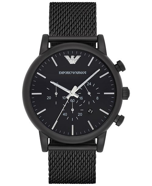 9441957a4c1 ... Emporio Armani Men s Chronograph Black Stainless Steel Mesh Bracelet  Watch 46mm ...