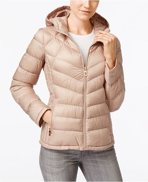 f9f850224 Michael Kors Chevron Hooded Packable Down Puffer Coat, Created for ...