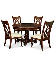 Closeout! Bordeaux Pedestal Round 5-Pc. Dining Room Set (Dining Table & 4 Side Chairs)