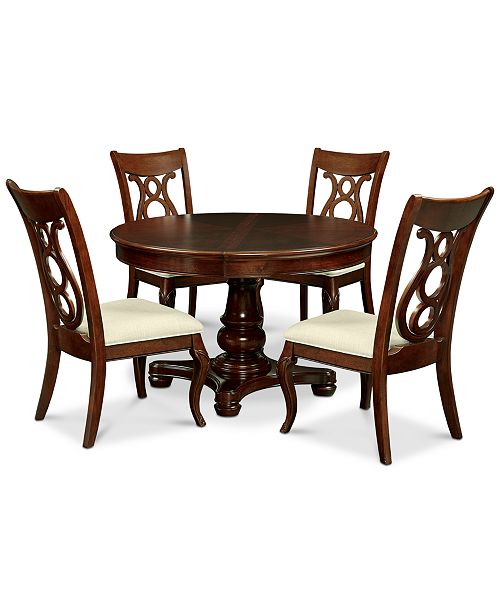 Furniture Bordeaux Pedestal Round 5-Pc. Dining Room Set (Dining Table & 4 Side Chairs)