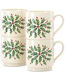 Holiday Stackable Mugs, Set of 4