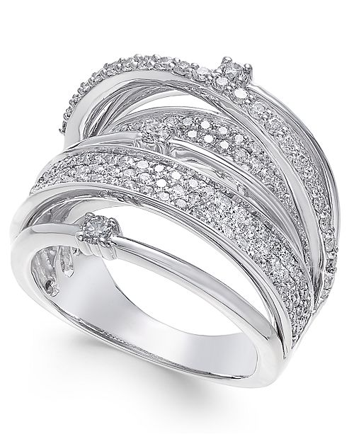 Macy's Diamond Multi-Row Statement Ring (1-1/2 ct. t.w.) in 14k White Gold
