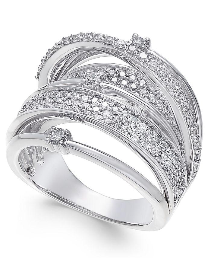 Macy's - Diamond Multi-Row Statement Ring (1-1/2 ct. t.w.) in 14k White Gold