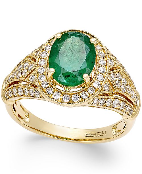 EFFY Collection Brasilica by EFFY® Emerald (1-1/2 ct. t.w.) and Diamond (1/2 ct. t.w.) Ring in 14k Gold