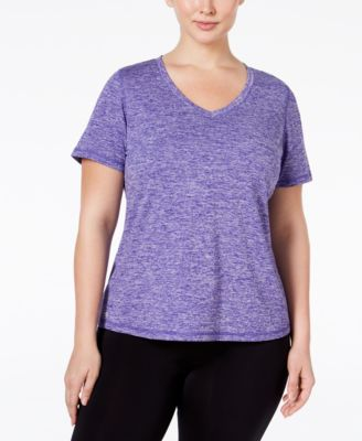 Image of Ideology Plus Size Essential V-Neck Performance T-Shirt, Only at Macy's