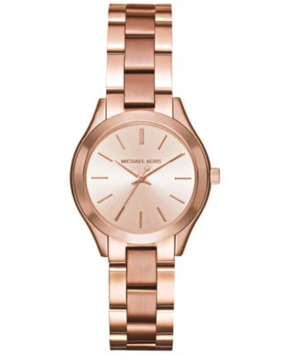 Michael Kors Women\u0026#39;s Mini Slim Runway Rose Gold-Tone Stainless Steel Bracelet Watch 33mm MK3513