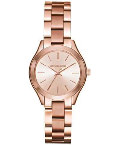 32b16b77f50 Michael Kors Women s Mini Slim Runway Rose Gold-Tone Stainless Steel  Bracelet Watch 33mm MK3513