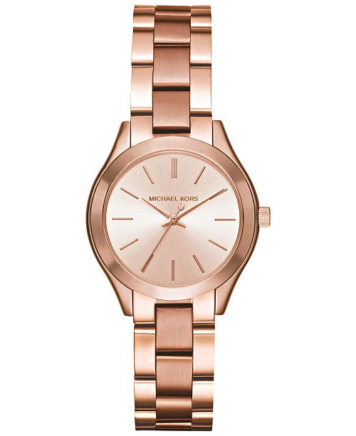 3ecbe8e58 Women's Mini Slim Runway Rose Gold-Tone Stainless Steel Bracelet Watch 33mm  MK3513