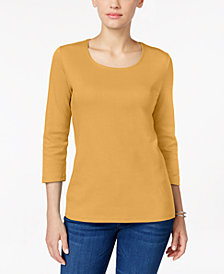 Karen Scott Petite Cotton Scoop-Neck 3/4-Sleeve Top, Created for Macy's