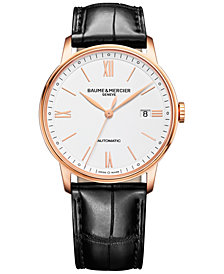 Baume & Mercier Men's Swiss Automatic Classima Black Leather Strap Watch 39mm M0A10271