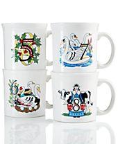 Fiesta Twelve Days of Christmas Set of 4 Mugs, Second series in a series of Three