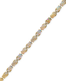 AURORA by EFFY® Opal (6-1/2 ct. t.w.) and Diamond (3/8 ct. t.w.) Tennis Bracelet in 14k Gold
