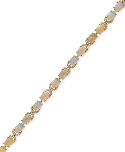 AURORA by EFFY® Opal (6-1/2 ct. t.w.) and Diamond (3/8 ct. t.w.) Tennis Bracelet in 14k Gold