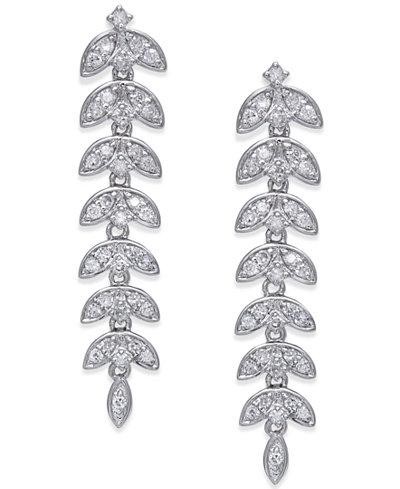 Diamond Dangle Linear Drop Earrings (1/2 ct. t.w.) in 14k White Gold