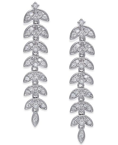 Macy's Diamond Dangle Linear Drop Earrings (1/2 ct. t.w.) in 14k White Gold
