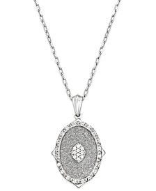 Diamond Glitter Oval Pendant Necklace (1/6 ct. t.w.) in Sterling Silver