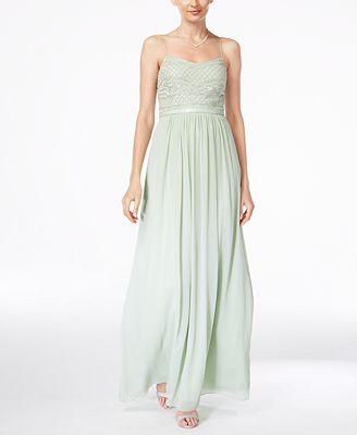 Adrianna Papell Beaded Chiffon Gown Dresses Women Macy S
