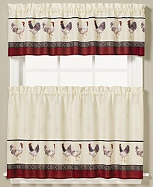 French Country Rooster-Print Valance and Tier Pair Collection