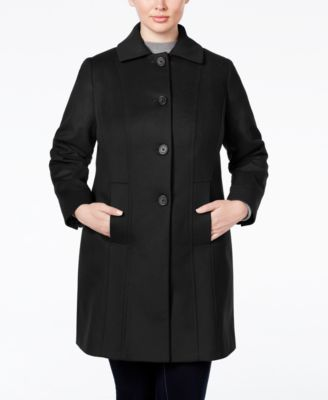 Anne Klein Plus Size Wool-Cashmere Single-Breasted Walker Coat, Only at Macy's