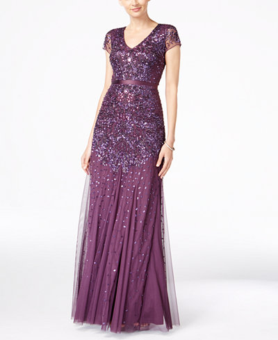 Adrianna Papell Cap Sleeve Embellished Gown Women Macy S