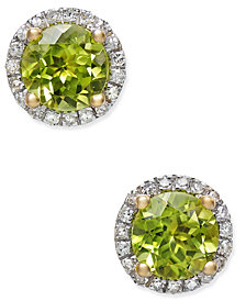 Peridot (1-3/4 ct. t.w.) and Diamond (1/6 ct. t.w.) Halo Stud Earrings in 14k Gold