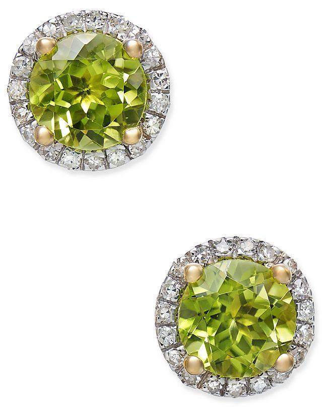 Macy's Peridot (1-3/4 ct. t.w.) and Diamond (1/6 ct. t.w.) Halo Stud Earrings in 14k Gold