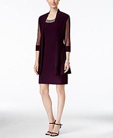 Petite Embellished Dress and Illusion Duster Jacket